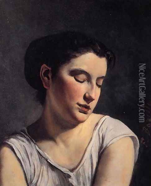 Young Woman with Lowered Eyes Oil Painting - Jean Frederic Bazille