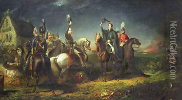 The Meeting of the Duke of Wellington and Field Marshal Blucher on the Evening of the Victory of Waterloo at La Belle Alliance Oil Painting - Thomas Jones Barker