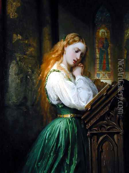 Margaritte in the Cathedral Oil Painting - Thomas Jones Barker