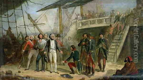 Nelson Boarding the 'San Josef' on 14th February 1797 after Sir John Jervis' victory off Cape St. Vincent Oil Painting - Thomas Jones Barker