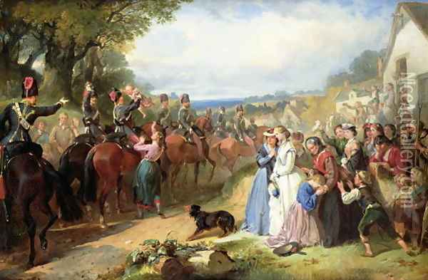 The Girls We Left Behind Us - The Departure of the 11th Hussars for India Oil Painting - Thomas Jones Barker