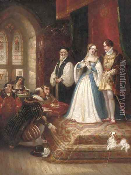 The marriage of Queen Mary Oil Painting - Thomas Jones Barker