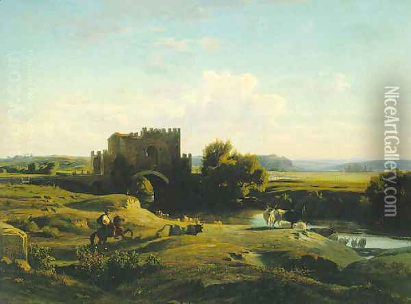 View of the Ponte Nomentano in the Roman Campagna 1852 Oil Painting - Jean Achille Benouville