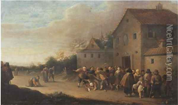 A village landscape with the Distribution of Bread to the Poor Oil Painting - Pieter de Bloot