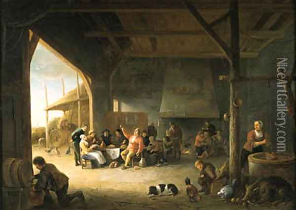 The interior of a barn with boors carousing Oil Painting - Pieter de Bloot