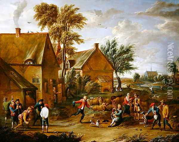 A Game of Bowls by a Tavern Oil Painting - Alexander van Bredael