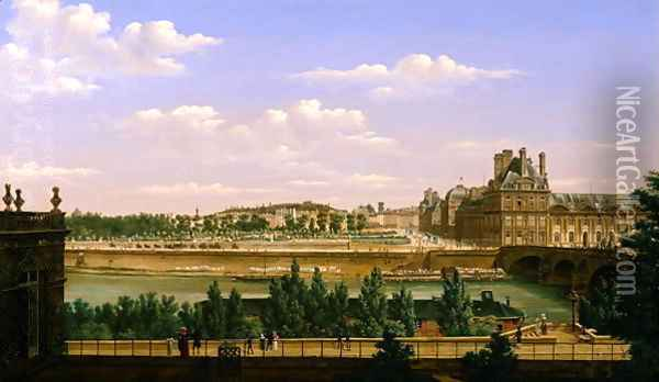 View of the Gardens and Palace of the Tuileries from the Quai d'Orsay, 1813 Oil Painting - Etienne Bouhot
