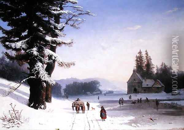 Snow Scene in the South of France 1868 Oil Painting - Josephine Bowes