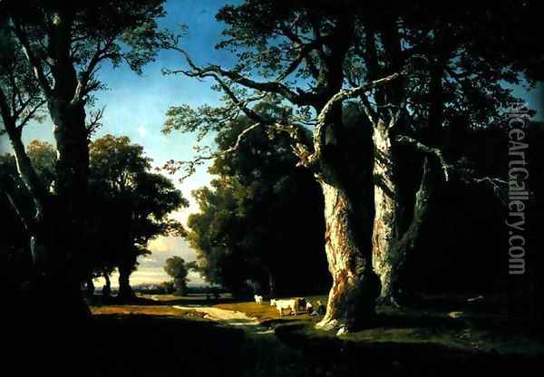 Landscape with Trees and Cattle Oil Painting - Josephine Bowes