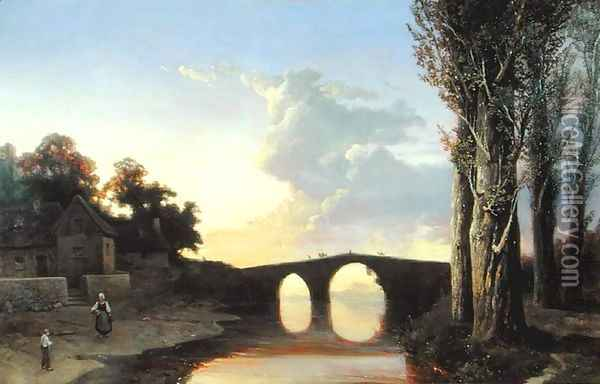 River and Bridge in the South of France Oil Painting - Josephine Bowes