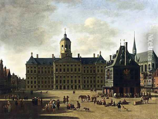 Amsterdam- View of the Dam with the Town Hall 1697 Oil Painting - Gerrit Adriaensz Berckheyde