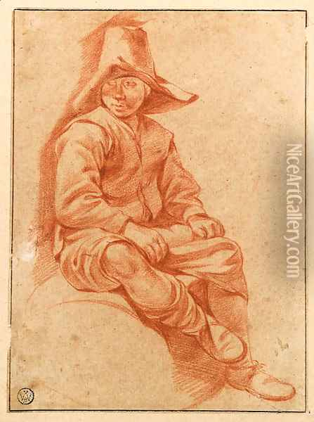 A Peasant Boy seated on a Barrel looking to the left Oil Painting - Gerrit Adriaensz Berckheyde