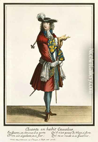 Cleante Dressed as a Cavalier, fashion plate, c.1695 Oil Painting - Nicolas Bonnart