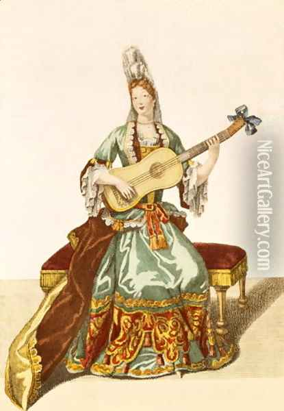 Lady of Quality Playing the Guitar, fashion plate, c.1695 Oil Painting - Nicolas Bonnart