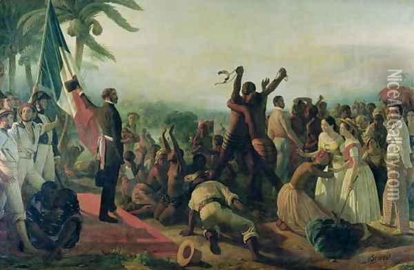 Proclamation of the Abolition of Slavery in the French Colonies, 23rd April 1848, 1849 Oil Painting - Francois-Auguste Biard