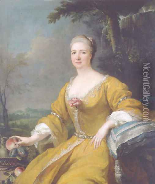 Portrait of the Duchess of Luxembourg, in an embroidered yellow dress, before a fountain, a landscape beyond Oil Painting - Alexis-Simon Belle