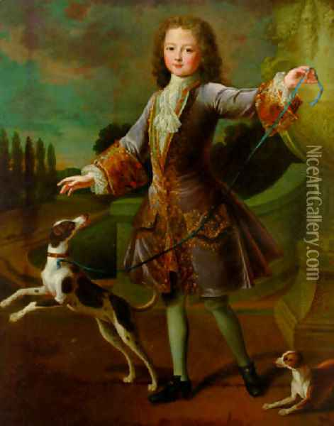 Portrait of a young gentleman in a lilac coat with gold embroidery and a lace cravat, with two dogs in a garden Oil Painting - Alexis-Simon Belle