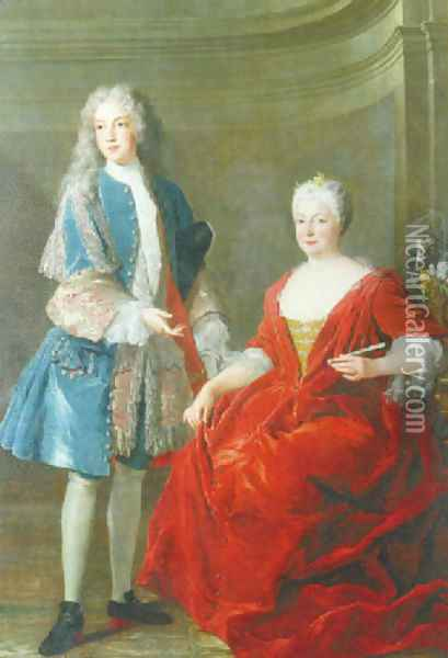Portrait of a noble lady and young man, Probably the Duchess of Lorraine and her son 1722 Oil Painting - Alexis-Simon Belle