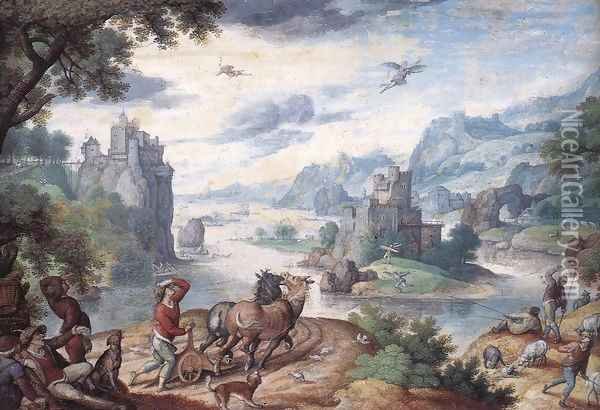 Landscape with the Fall of Icarus Oil Painting - Hans Bol