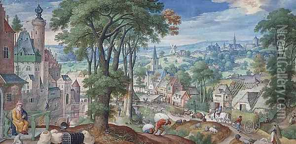 Panoramic Landscape with Parable of The Rich Man and view of the city of Brussels 1585 Oil Painting - Hans Bol