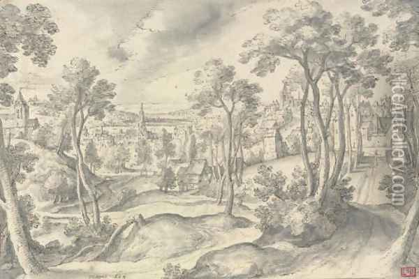 A distant view of a town, with a wooded road in the foreground Oil Painting - Hans Bol