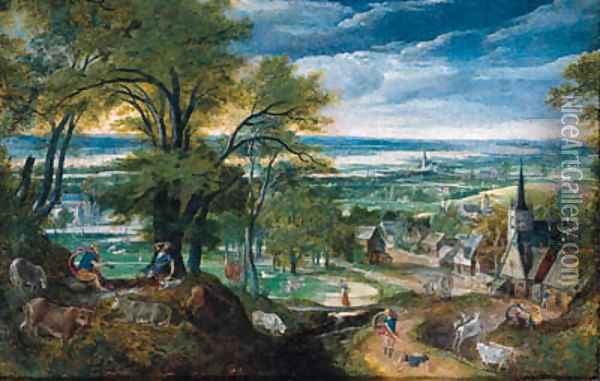 Mercury playing the flute as Argus falls asleep and Mercury slaying Argus, a village and a river valley beyond Oil Painting - Hans Bol