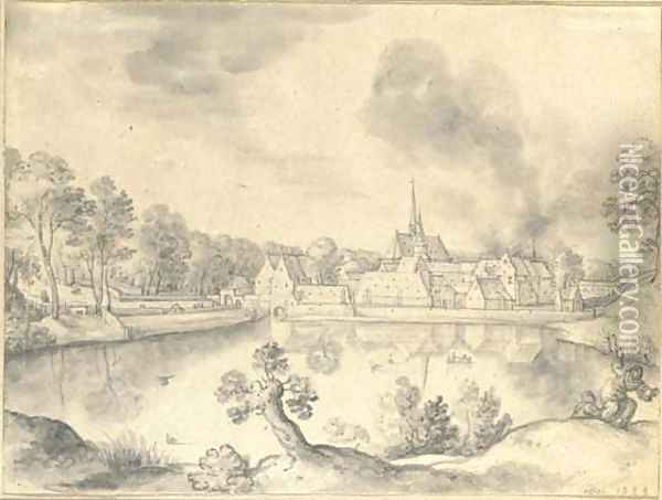 A village before a lake, with two figures in the foreground Oil Painting - Hans Bol