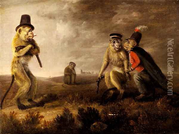 Before The Monkey Duel Oil Painting - Edmund Bristow