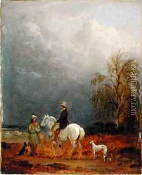 A Traveller and a Shepherd in a Landscape Oil Painting - Edmund Bristow