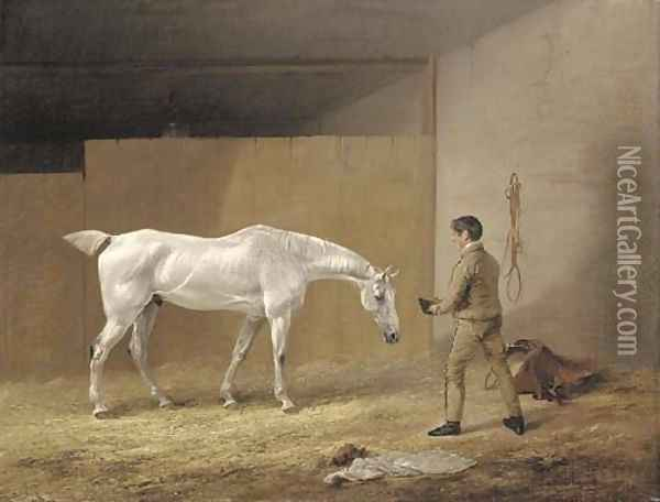 A grey hunter and stableboy Oil Painting - Edmund Bristow