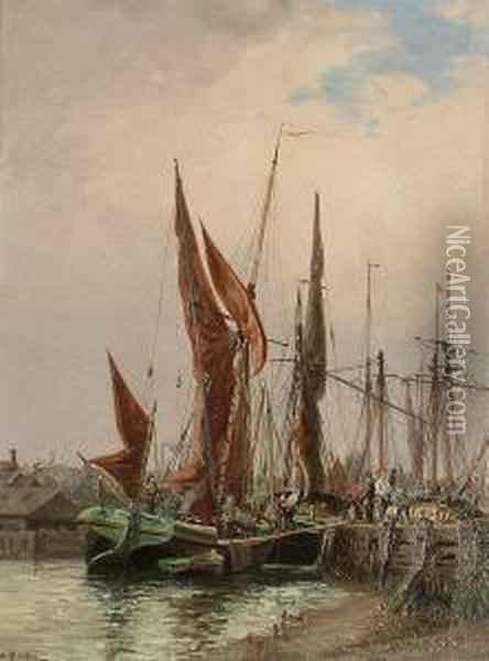 Loading The Boat Oil Painting - Auguste Ballin