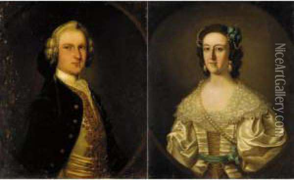 Portrait Of Sigismund Trafford, And His Wife Elizabeth Oil Painting - Thomas Bardwell