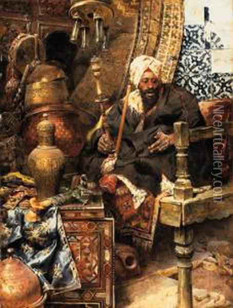 Arab Dealer Among His Antiques Oil Painting - Charles Bargue