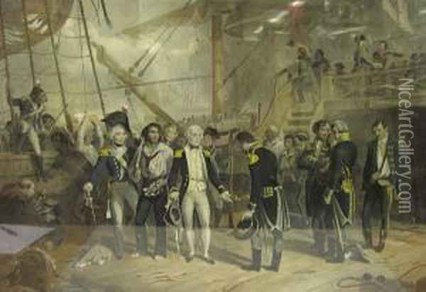 Nelson On Board The San Josef  Receiving The Sword Of The Spanish Admiral At The Battle Of St Vincent  Febry. 14th 1797. Oil Painting - Thomas Jones Barker