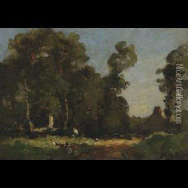 Near Lambourne Valley, Cornwall; A Valley In Cornwall Oil Painting - John Noble Barlow