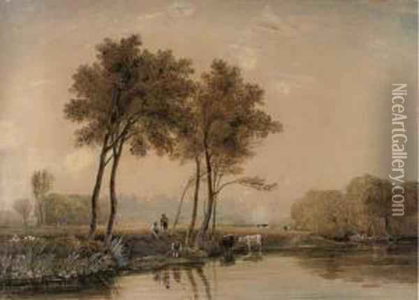Anglers On The Banks Of The Thames Before Windsor Castle Oil Painting - George Jnr Barrett