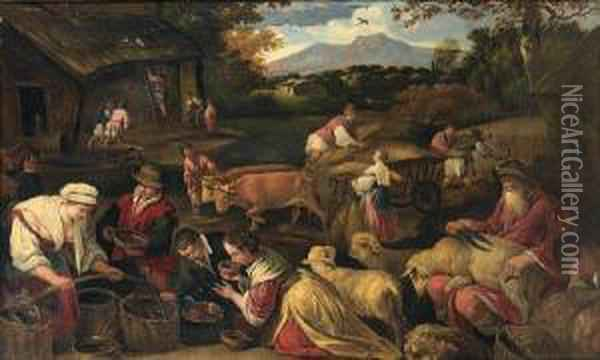 An Allegory Of Summer Oil Painting - Jacopo Bassano (Jacopo da Ponte)