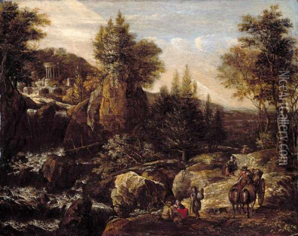 A Rocky River Landscape With Travellers, A Classical Temple Beyond Oil Painting - Gerrit Van Battem