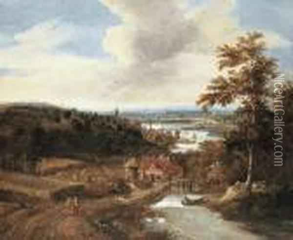 A Wooded River Landscape With Harvesters And Travellers On Abridge, A Town Beyond Oil Painting - Gerrit Van Battem
