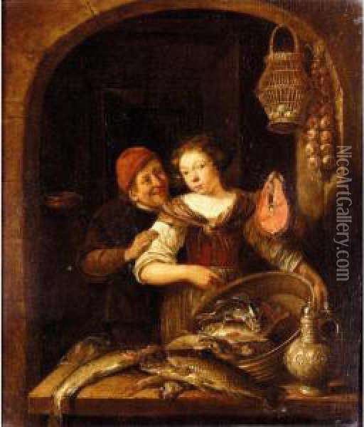 Domestic Scene Oil Painting - Gerrit Van Battem