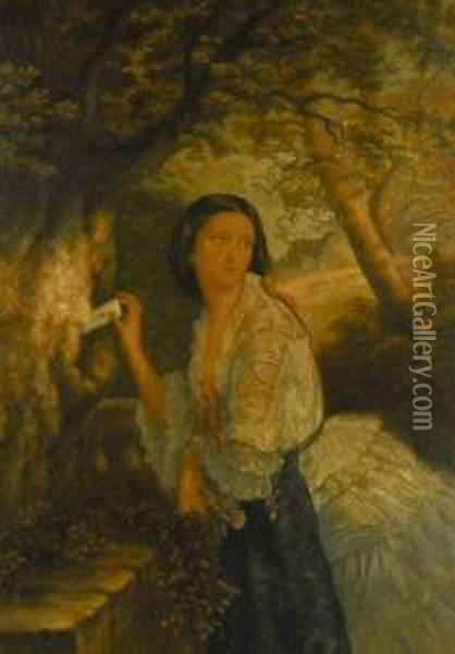 A Young Woman Placing A Love Note Within A Tree Trunk Oil Painting - George Baxter