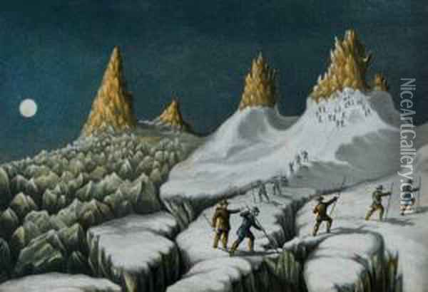 The Ascent Of Mont Blanc By Albert Smith And Party Oil Painting - George Baxter