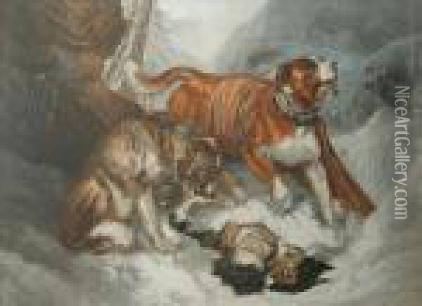 The Dogs Of St Bernard Oil Painting - George Baxter