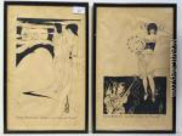 'the Stomach Dance From 'salome' And 'the Woman In The Moon From'salome' Oil Painting - Aubrey Vincent Beardsley