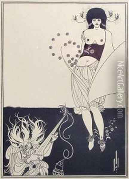 Illustrations For Oscar Wilde's Oil Painting - Aubrey Vincent Beardsley