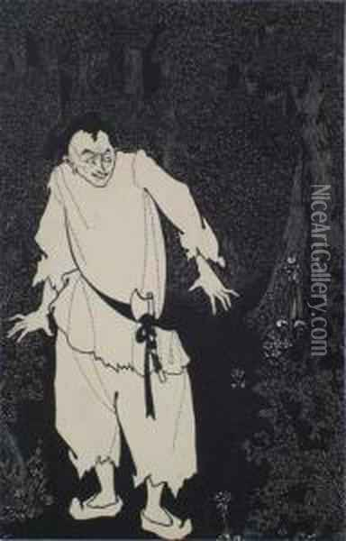 Ali Baba In The Woods Oil Painting - Aubrey Vincent Beardsley