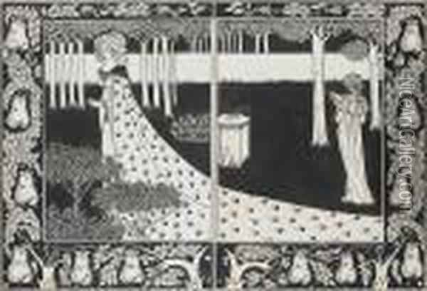 La Belle Isould At Joyous Gard Two Drawingswithin One Mount Oil Painting - Aubrey Vincent Beardsley
