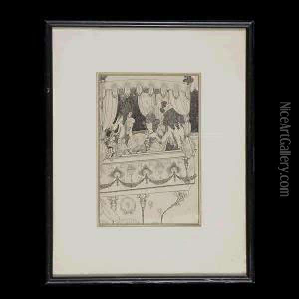 The Elite At The Theater. Oil Painting - Aubrey Vincent Beardsley