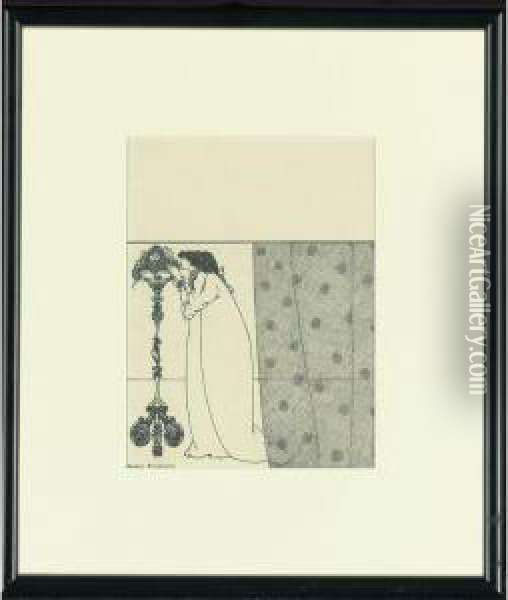 Design For The Front Wrapper Of The Savoy, No. 4 Oil Painting - Aubrey Vincent Beardsley