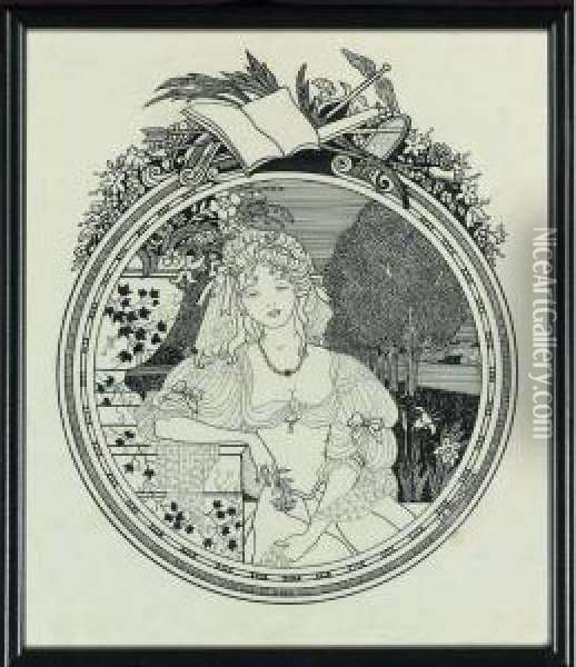 Young Beauty In A Park: Le Bourgeois Oil Painting - Aubrey Vincent Beardsley